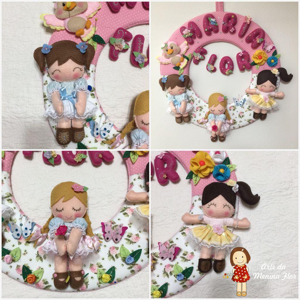 Mais uma Guirlanda de bonequinhas prontinha para alegrar a mamãe e a Bebê Maria Flor ! Tudo foi feito pensando na princesinha que vai nascer em breve!