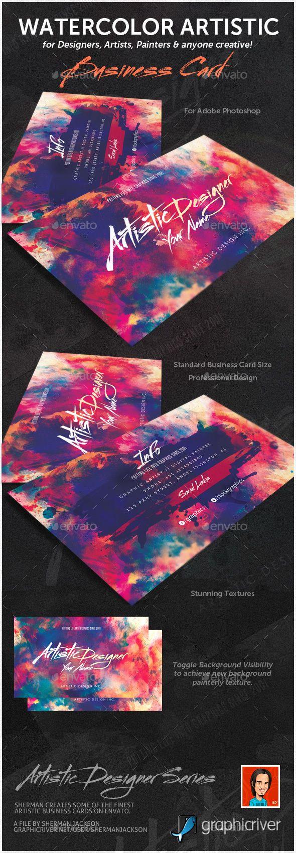 Watercolour Designer Artistic Business Card Business Cards Creative Artist Business Cards Business Card Design