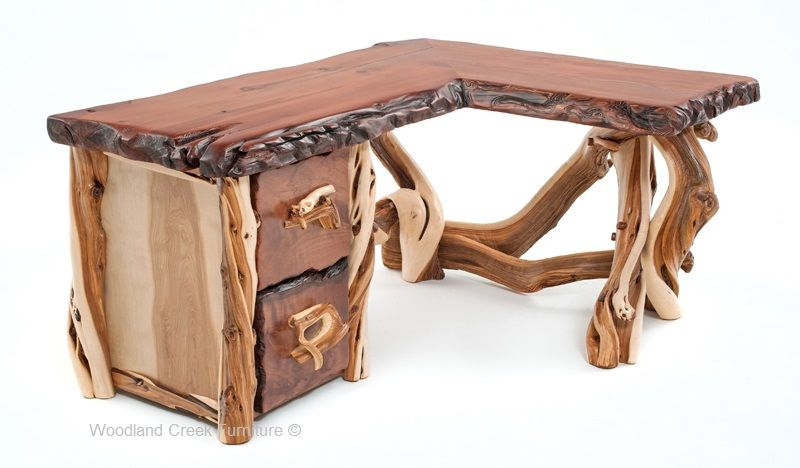 Custom Made Desks Rustic Desk Live Edge Cabin Furniture In 2019