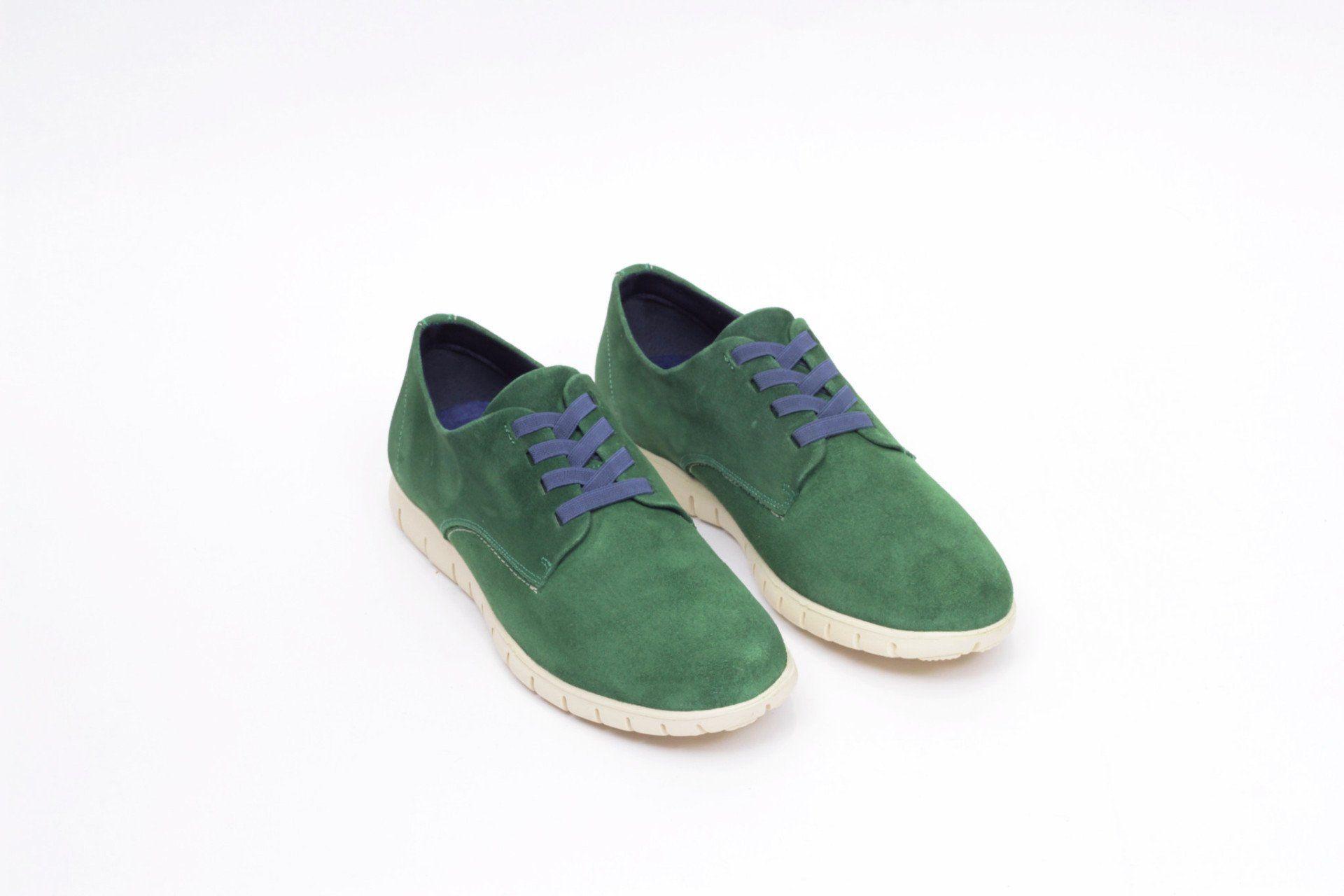 miMaO Urban 360 Verde - zapato cómodo hombre plano extraligero cómodo piel ante verde- Comfort men's flat shoes trainers green leather extralight