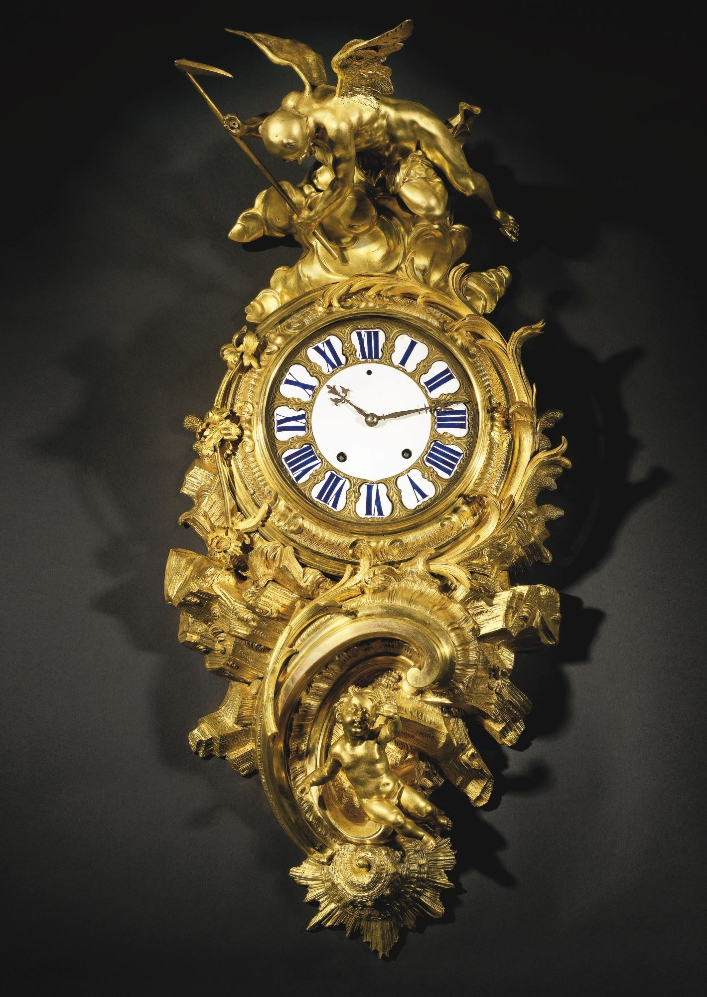 A LARGE AND RARE LOUIS XV ORMOLU CARTEL CLOCK ATTRIBUTED TO CHARLES ...