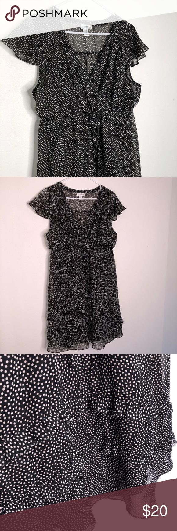 Motherhood Maternity Dress Xl Polka Dots Black And White Wrap Dress Full Slip Underneath Flutter Sleeves And Ruffled Hems Xl In 2019 Maternity Dresses White Wrap Dress Fashion