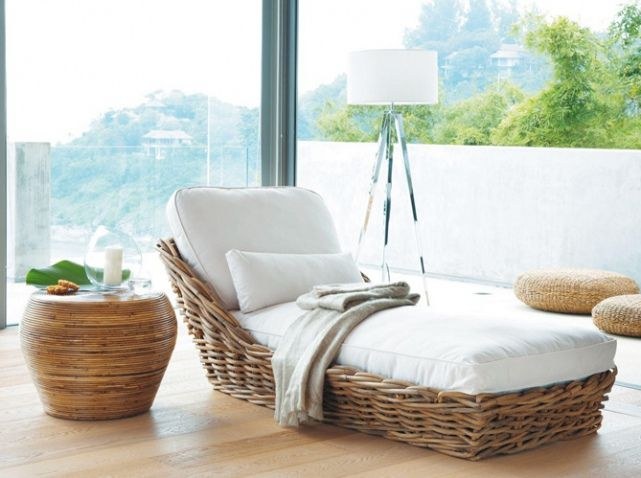 Bain de soleil en rotin maisons du monde acheter for Chaise longue jardin maison du monde