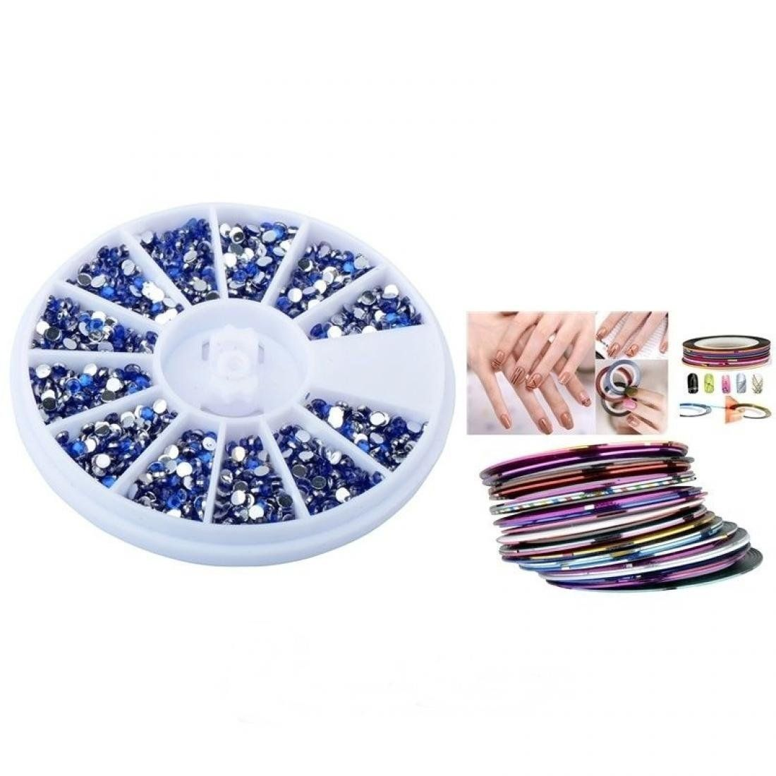 Nail art color violet - Bright Nail Art Tips Rolls Rhinestones Color Dark Blue With 30pcs Mixed Tape Line