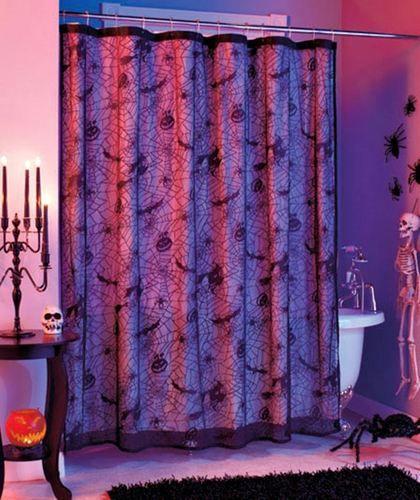 Black Lace Spider Web W Bats Fabric Bathroom Shower Curtain Goth