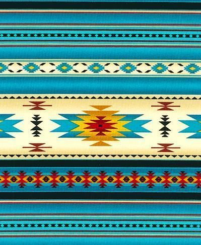Yards Native American Indian Blanket Fabric Turquoise