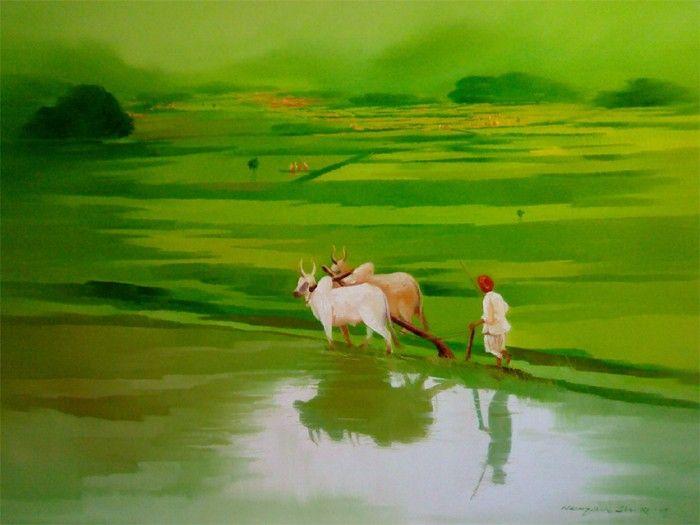 Farmer painting by Narayan Shelke | ArtZolo.com | Farmer painting, Farm  paintings, Nature paintings