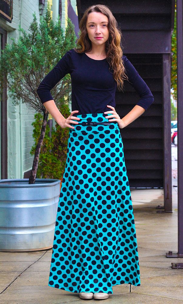 64a9915a82d64 Long Polka Dot Maxi Skirt in Turquoise Maxi Outfits, Modest Outfits, Modest  Fashion,