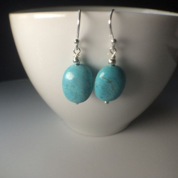 Sterling Silver Turquoise Oval Long Dangle by MairiJewellery