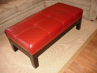 Red Leather Ottoman Or Bench Mid Century Modern Furniture Pinterest Leather Ottoman Mid