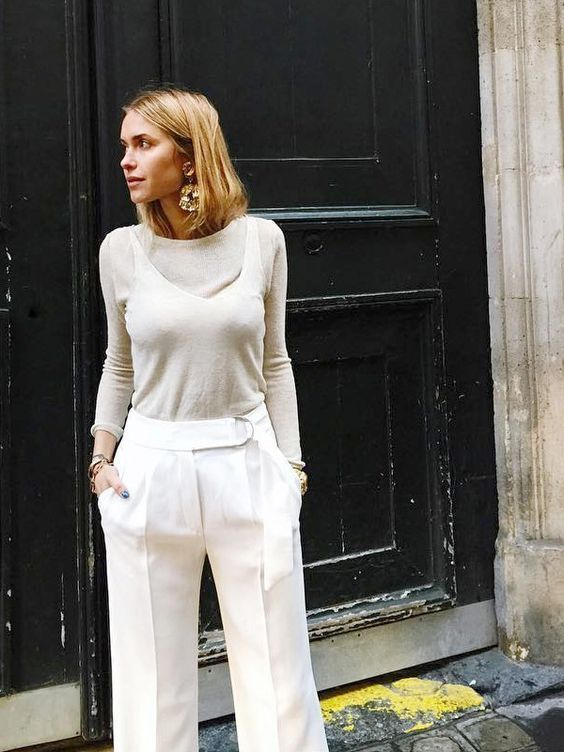 Wide Leg and Statement Earrings   Street Style #StreetStyle