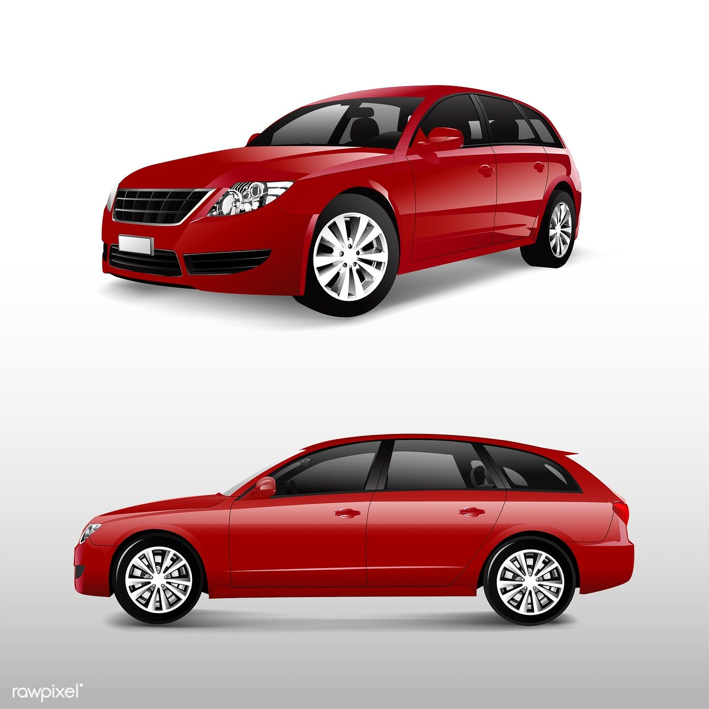 Download Premium Vector Of Front And Side View Of A Red Minivan