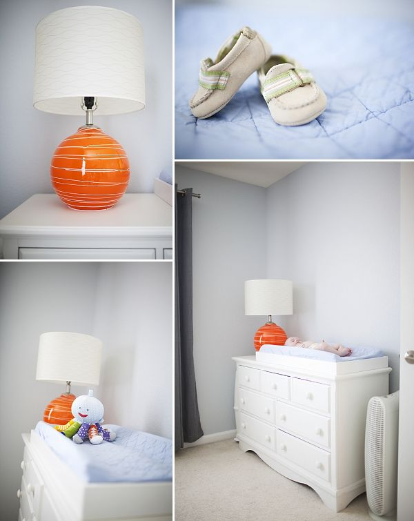 A Creative Modern Nursey on COUTUREcolorado Baby with orange and blue accents.