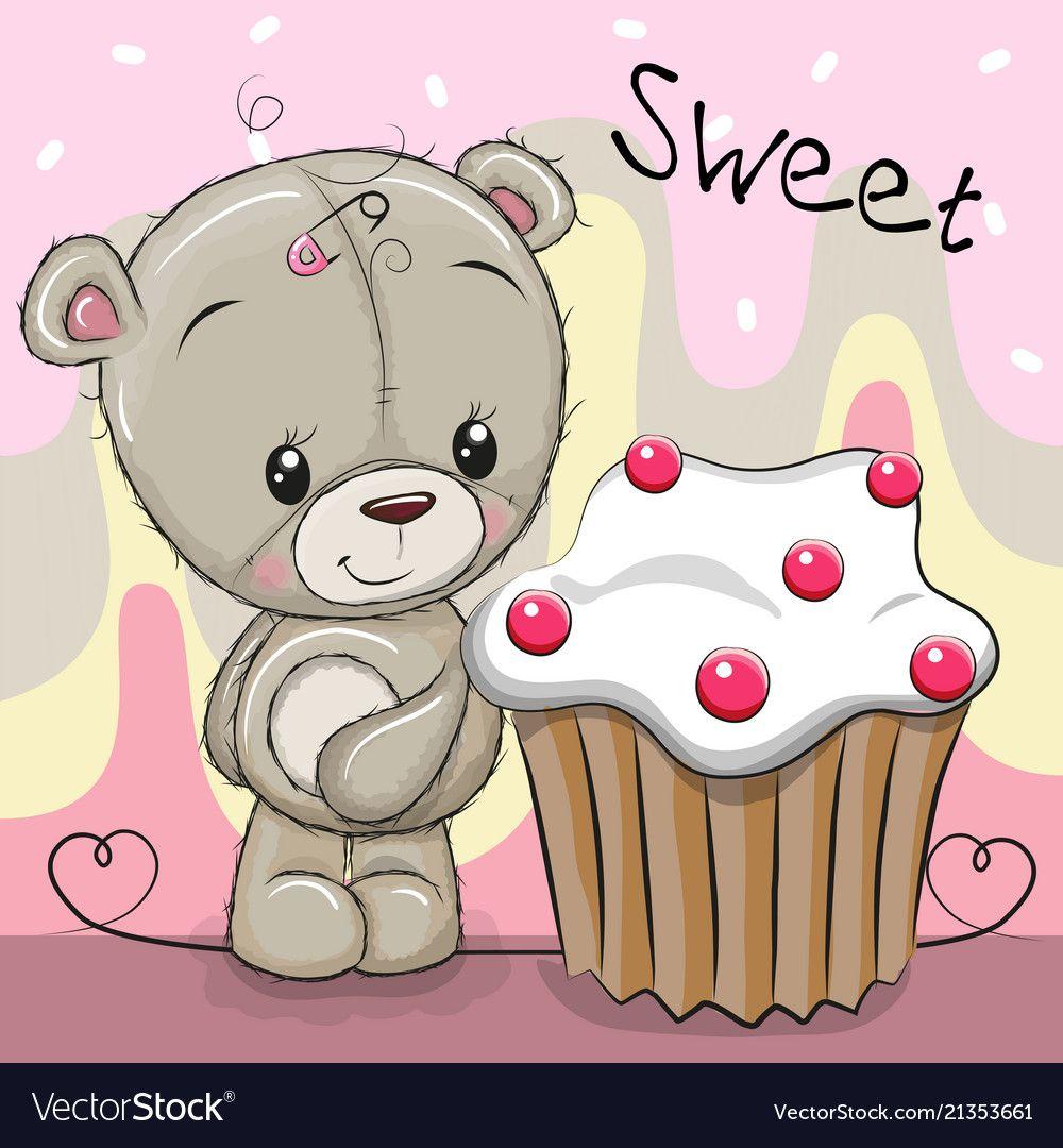Greeting Card Cute Cartoon Teddy Bear With Cake Download A Free Preview Or High Quality Adobe Illustrator Ai Cute Cartoon Teddy Bear Images Cute Teddy Bears