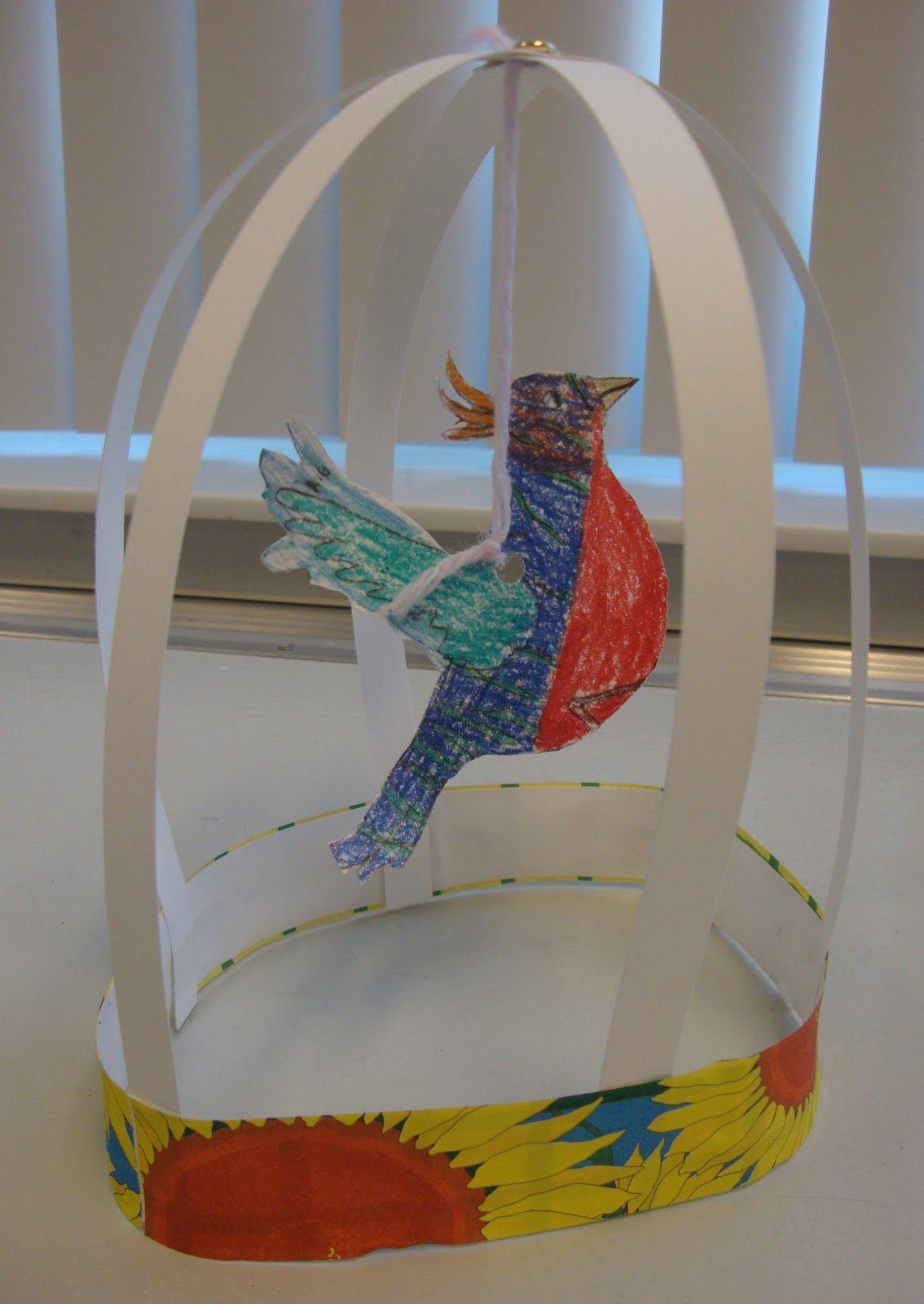 Art paper scissors glue bird cage sculptures bird