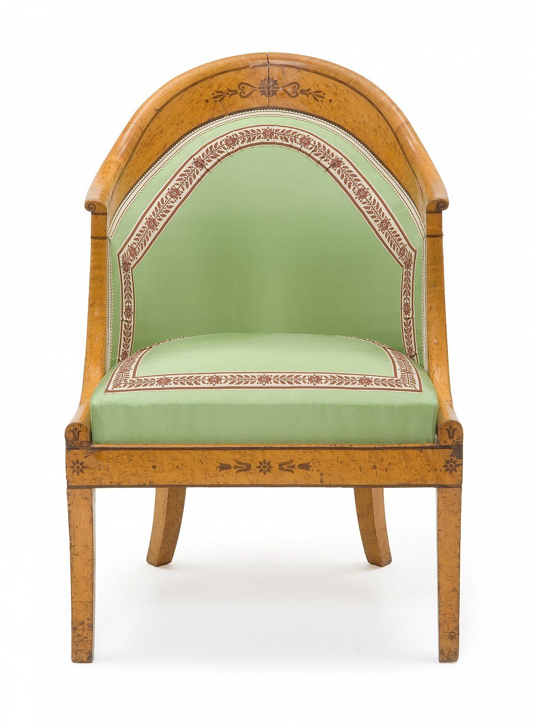 armchair gondola france charles x 1824 1830 lemon amaranth inlay