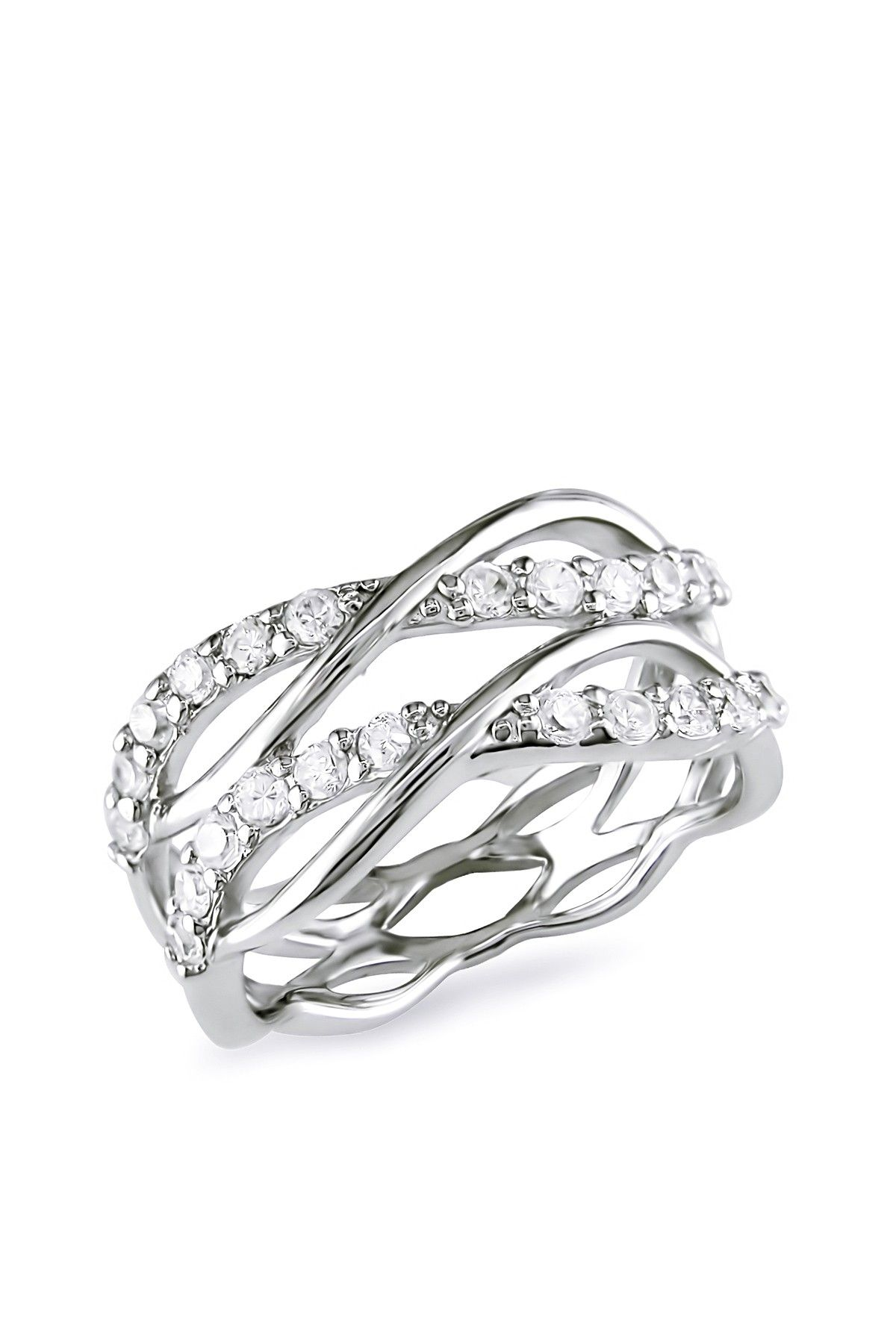 Beautiful Sterling Silver Cz Tiered Crisscross Ring