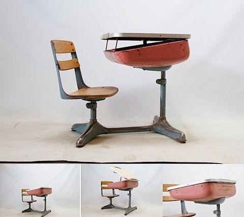 Way Back When School Desk