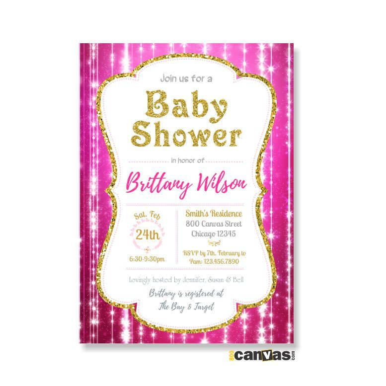 Hot Pink and Gold Baby Shower Invitation. Valentine\'s Day Party ...