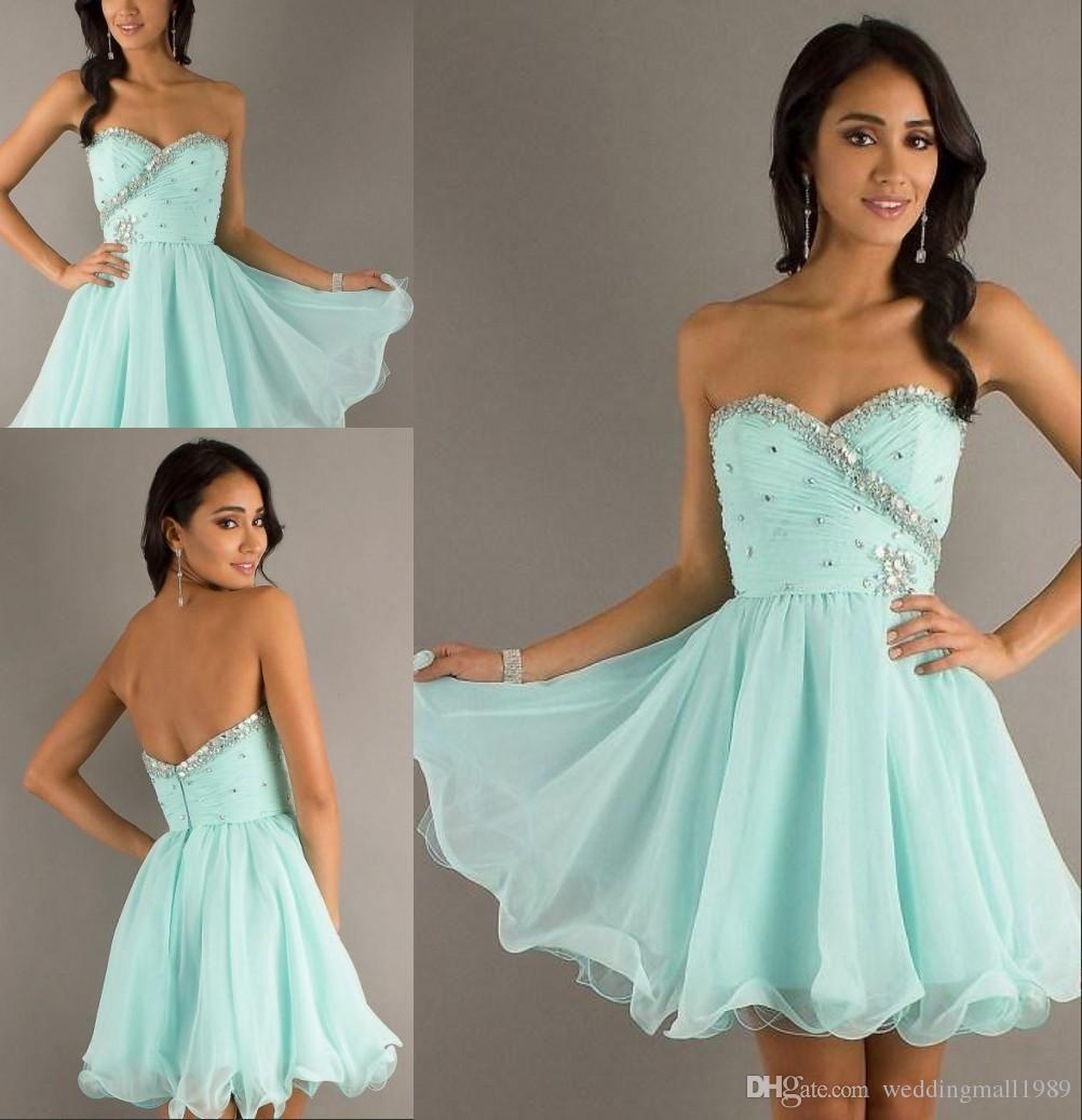 Short Party Dresses Fashion Crystal Beaded Sleeveless Sweetheart A ...