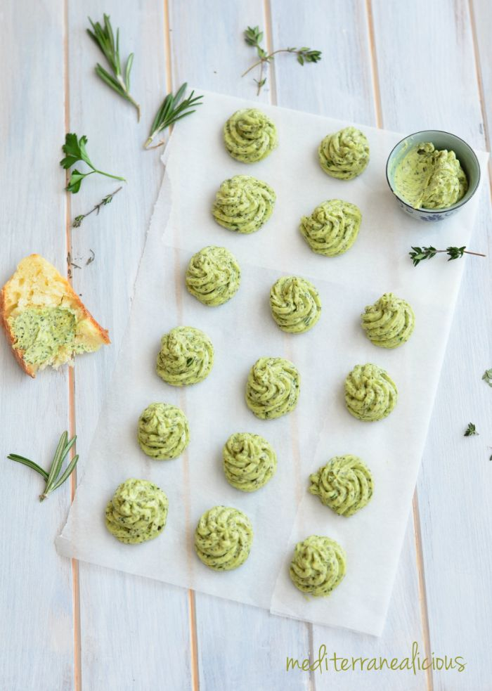 Homemade herb butter with rosemary, thyme, parsley and garlic