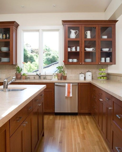 Cherry Wood Kitchen Cabinets: Floor Color Goes Well With Cherry Wood Cabinets In 2019