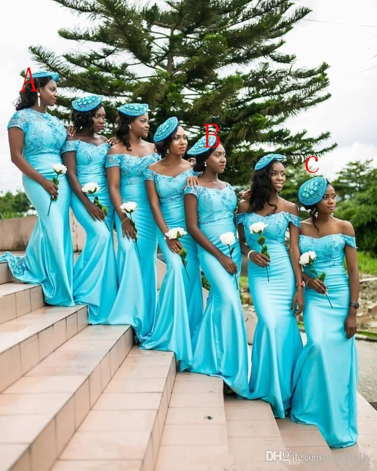 2017 turquoise south african mermaid bridesmaid dresses for Turquoise wedding dresses for bridesmaids