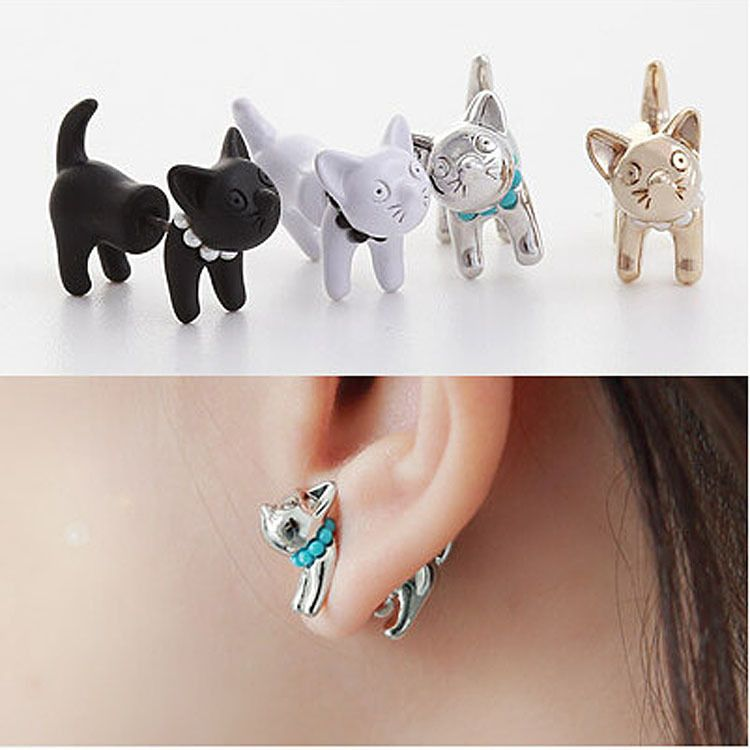 2015 New Arrival 3D Pearl Kitty Cat Cute Stud Earrings set for ...