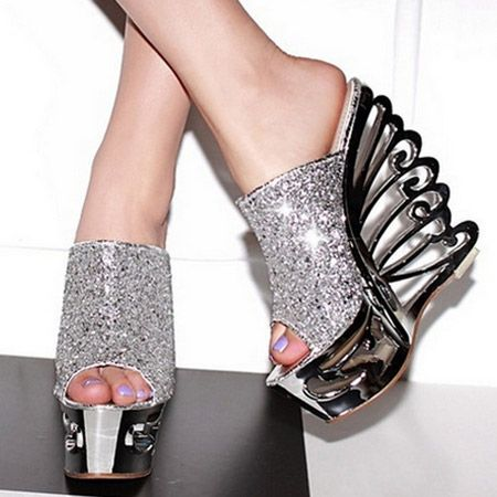 Astonishing Cut-out Wedge Slipper High Heel Slippers from fashionmia.com