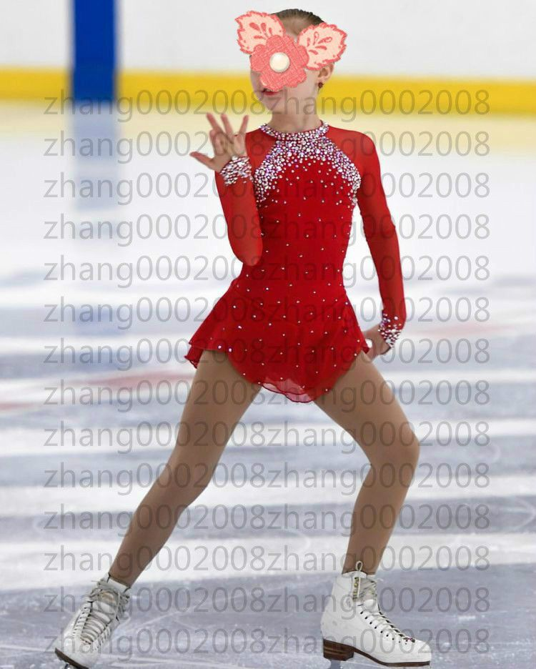 Ice skating dress.Red Competition Figure Skating //Baton Twirling Costume
