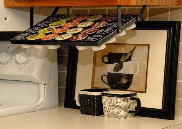 Under Cabinet Keurig K Cup Coffee Maker Gokitchenideas Com Clever Kitchen Storage Kitchen Storage Hacks K Cup Holders