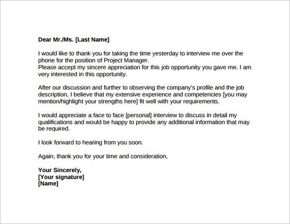 Thank You Letter After Job Interview Download Free Documents Phone