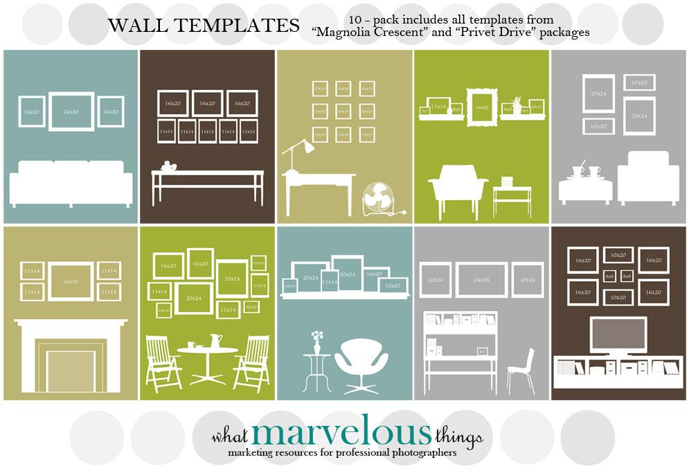 Customizable Wall Display Templates 10 Pack Gallery Wall Layout Photo Wall Display Wall Display