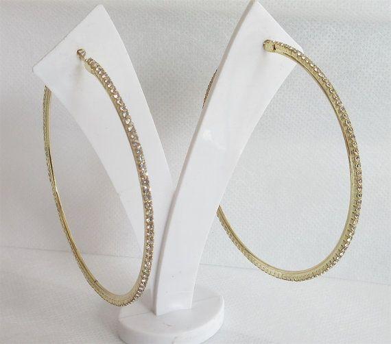 Gold Hoop Earrings Golden Rhinestones Lined By Beautepe
