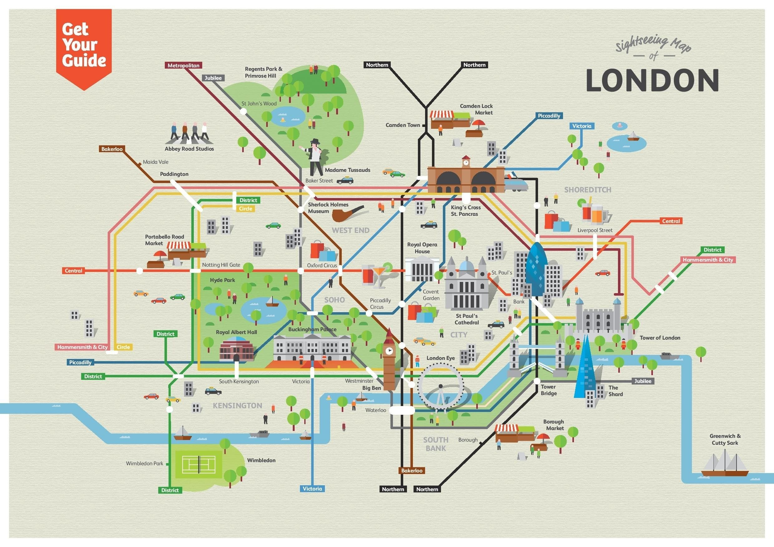 Map Of Attractions London.London Underground Map With Tourist Attractions Printable Interior