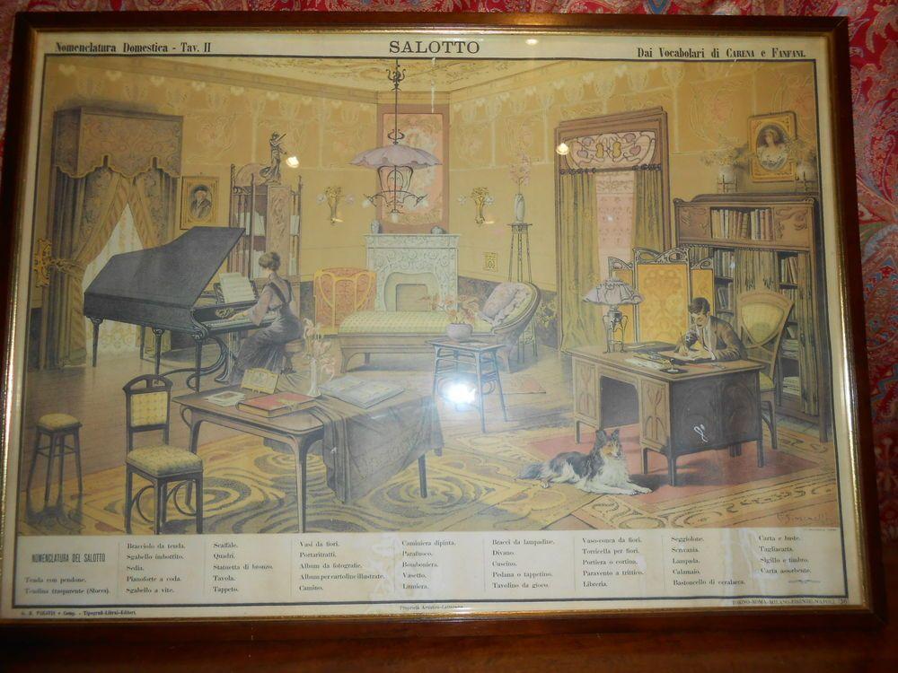 Tavola Didattica litografia colori Deco' Liberty Paravia Stampa Salotto Vintage