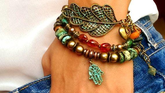 Hamsa Bracelet Gypsy Boho double strand bracelet Hand of by FiArt, $42.00