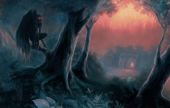 Wallpaper art, forest, trees, night, home, the demon