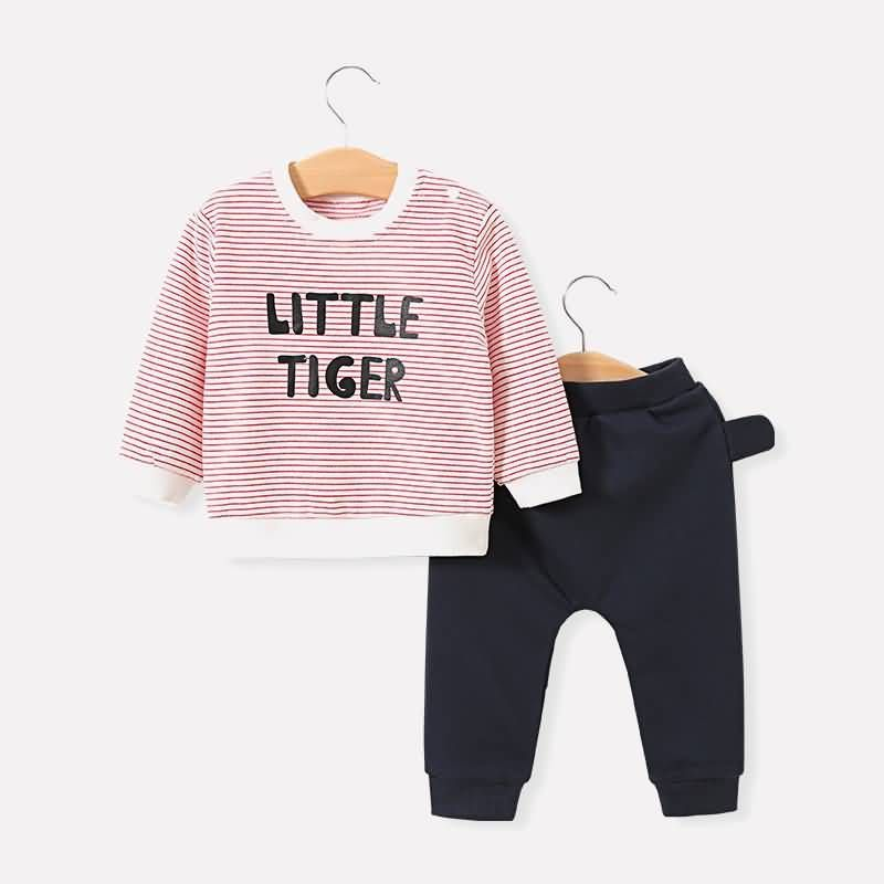 Baby Toddler Stripe Letters Print Sweatshirt And Pant Set  Black 3 4 YEARS Source by maykalakids Sweatshirts