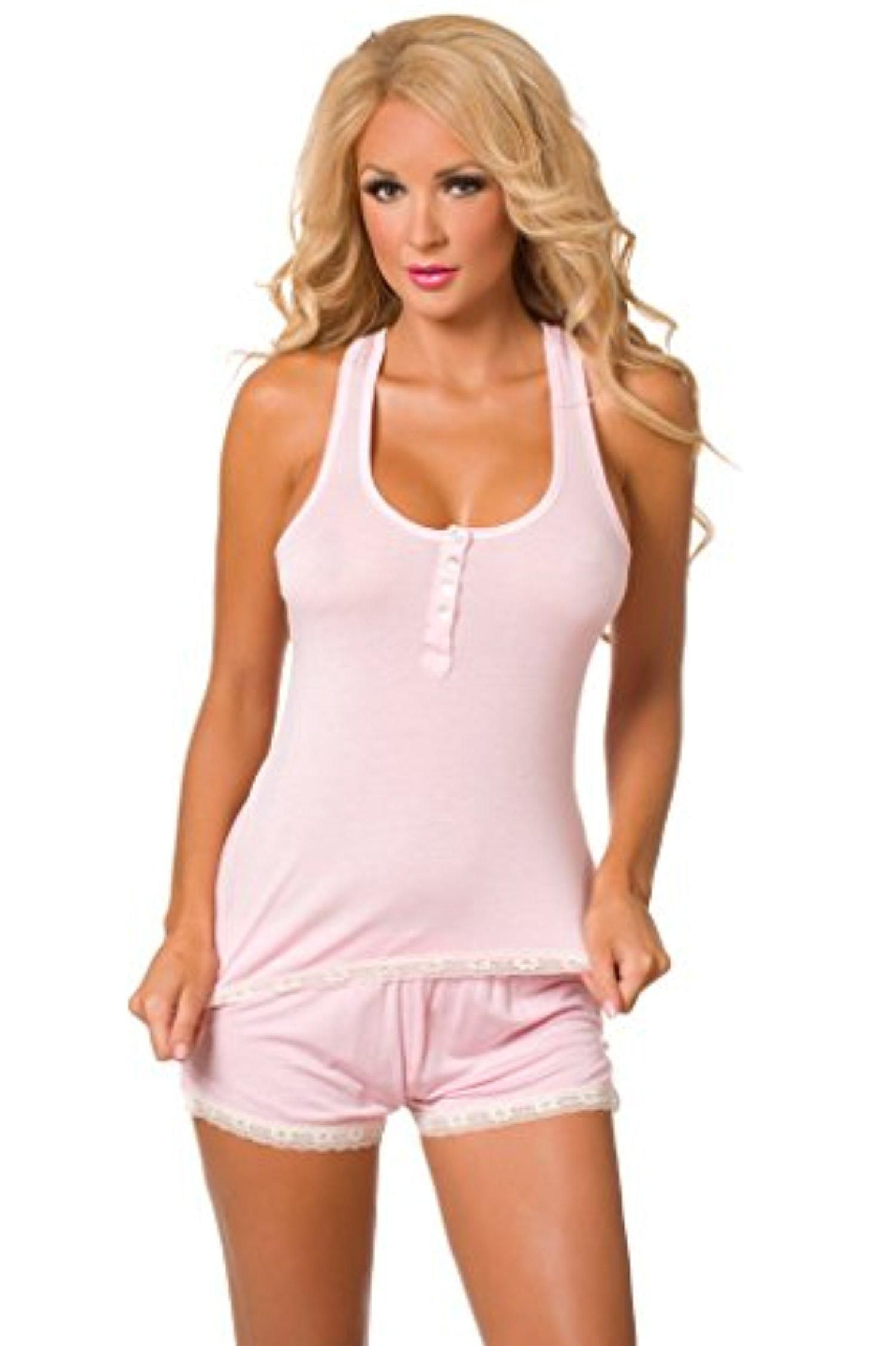 cc86fb358a Velvet Kitten Sweetness Short Pink PJ Sexy Sleepwear Tank Top Set 563786  Large - Brought to you by Avarsha.com