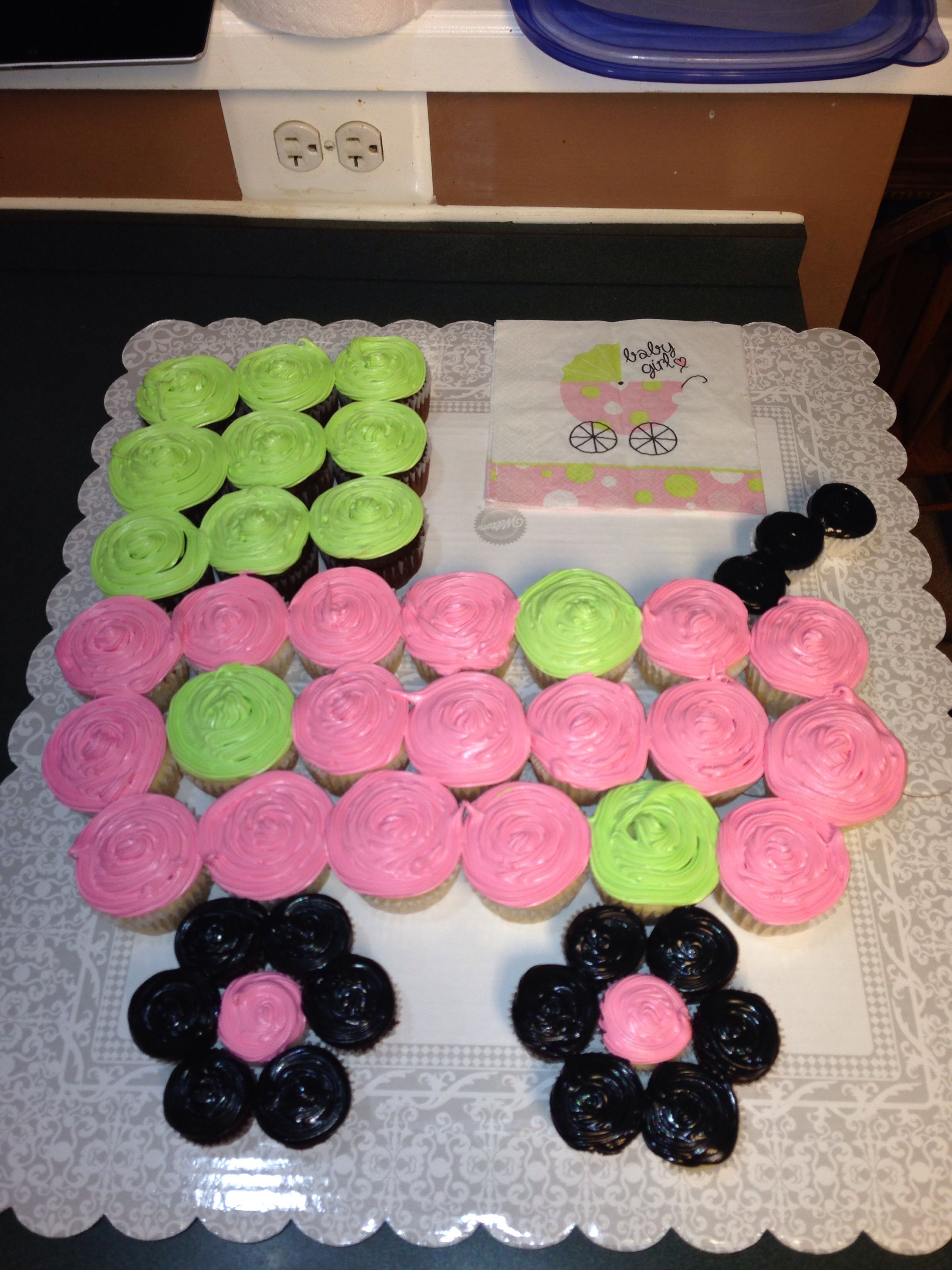 Baby carriage - cupcake cake for baby shower