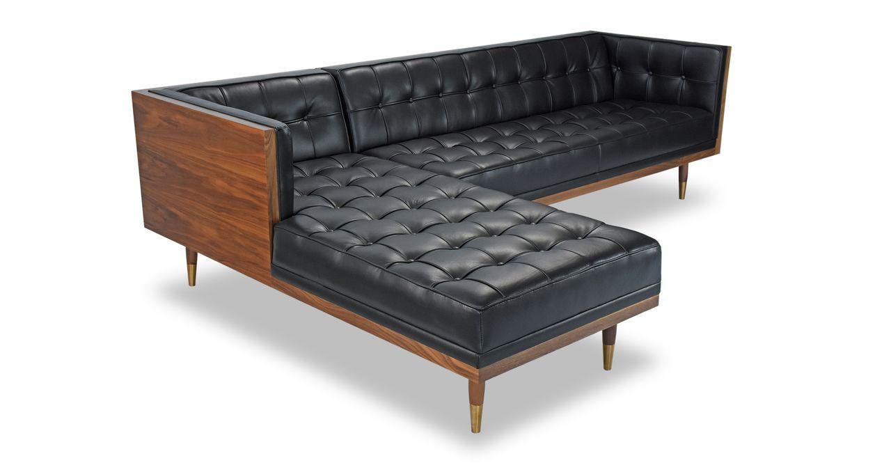 Woodrow Box 100 Leather Sofa Sectional Left Walnut Black Aniline Sectional Sofa Leather Sofa Sectional