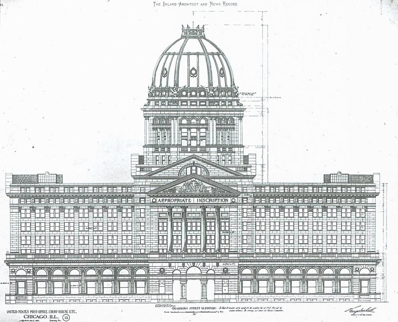 Elevation Of The Us Post Office And Court House Chicago