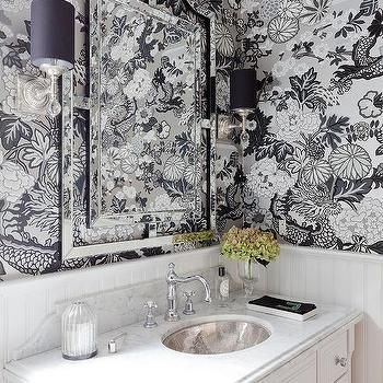 Black and Silver Chinoiserie Powder Room Wallpaper