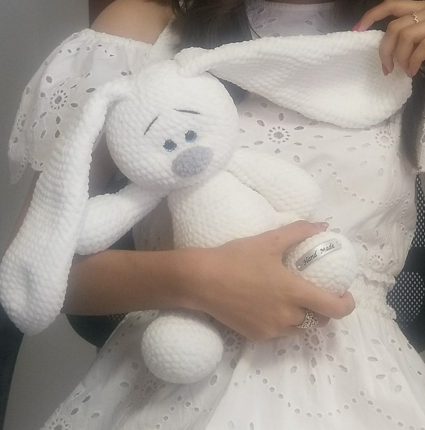 Photo of White Bunny Crochet, Decoration for baby photo shoot, 1st birthday gift for boy, Plush Bunny toy, Interior toy, Plush hypoallergenic toys