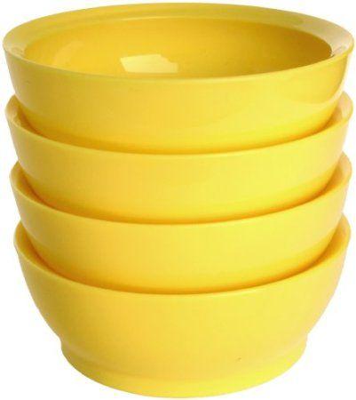 Amazon.com: CaliBowl Non-Spill 28-Ounce Low Profile Bowl with Non-Slip Base, Set of 4, White: Home & Kitchen