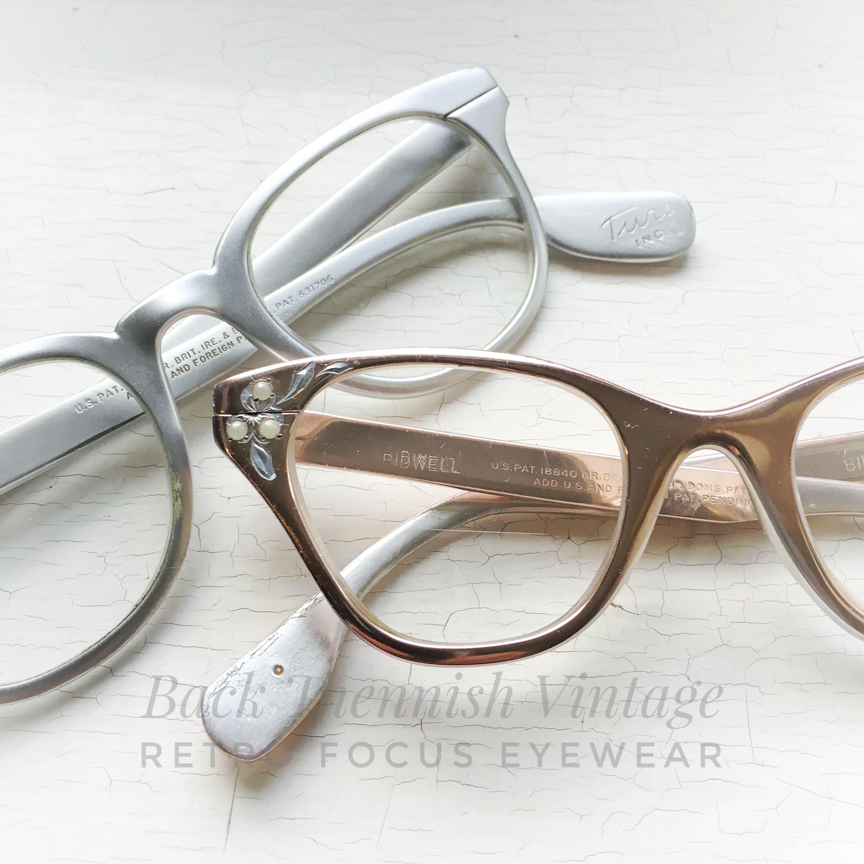 85e383f68c56 His   Hers True vintage Tura USA aluminum prescription friendly eyeglass  frames 1960 s silver hipster hornrims or chrome pastel pink cat eyes.
