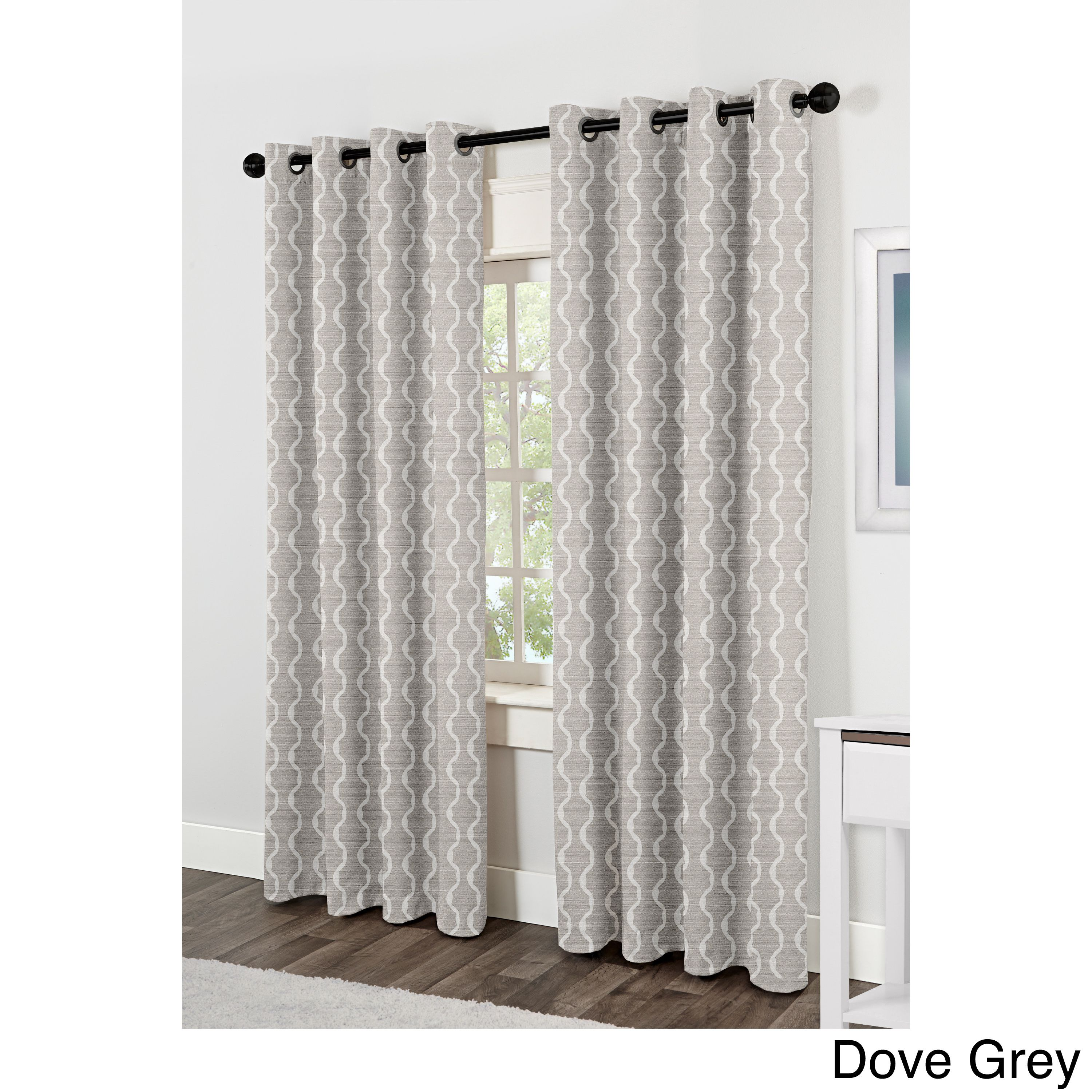 Threshold linen grommet sheer curtain panel product details page - Ati Home Baroque Jacquard Grommet Top Curtain Panel Pair By Ati Home