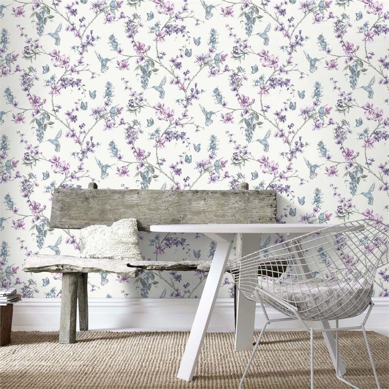 Superfresco Easy Hummingbird Floral Purple Wallpaper (With