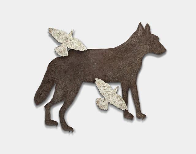 "KIKI SMITH, Wolf with Birds III, 2010. bronze with gold leaf, 44-1/2"" x 54"" x 2-1/2"" Pace Gallery"